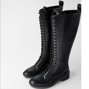 NWT Zara Low Heeled Laced Boots NWT size 10